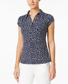 Charter Club Print Polo Top, Only at Macy's - Casual Tops For Women, Blouses For Women, Sewing Blouses, Evening Dresses Plus Size, Blouse Models, Dress Indian Style, Preppy Outfits, Fashion Pants, Blouse Designs