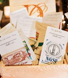 Place cards designed to look like vintage wine tags
