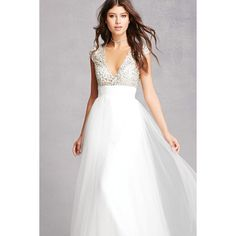 Forever21 Rhinestone & Sequin Tulle Gown ($195) ❤ liked on Polyvore featuring dresses, gowns, white, long white dress, sequin ball gown, white beaded gown, long evening dresses and white gown