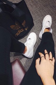 Image via We Heart It https://weheartit.com/entry/141105913 #adidas #black #designer #fashion #girl #gold #hipster #jeans #jewellery #love #nails #rings #style #white