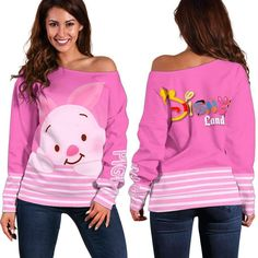 [GA] PIGLET DISNEY LAND Disney Clothes, Disney Outfits, Disney Land, Off Shoulder Sweater, Disney Merchandise, High Definition, Custom Made, Graphic Sweatshirt, Stylish