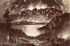 """Mt Tarawera volcanic eruption June 1886, New Zealand. I have always loved the story of the """"ghost waka"""" seen on the Lake before the eruption .... seemingly a warning of the dire events which followed. Terraces, Ghosts, Archaeology, New Zealand, Mystery, Places To Visit, June, Events, Magic"""