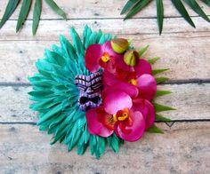 Mahalo Purple Tiki Hair Clip-Tropical Hair Clip Pinup by LilaJo