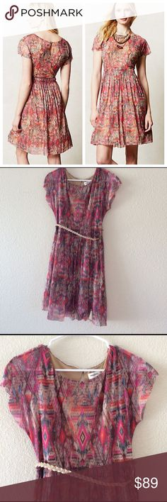NWOT Anthropologie Geo Print Simi Mesh Dress Anthropologie geo print simi mesh dress by Weston Wear. Never worn. Only selling because I no longer fit a size small. Anthropologie Dresses