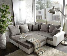 Ecksofa hellgrau weiß  Big-Sofa, wahlweise mit RGB-LED-Beleuchtung | Big sofas and Big