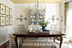 formal table with casual painted chairs
