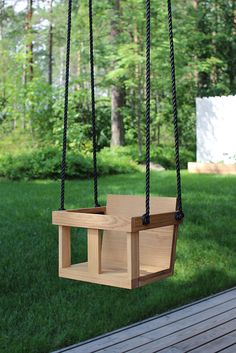 wood swings co. engravable wooden rope adult swing chair | porch