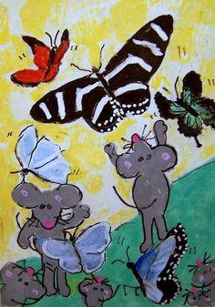 NFAC June #Butterflies Flutterby #mice #ACEO Original #Whimsical #cartoon