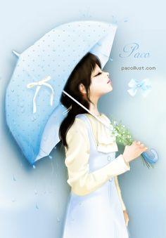 cute anime y Korean Anime, Korean Art, Umbrella Art, Under My Umbrella, Lovely Girl Image, Cute Cartoon Girl, Cute Girl Wallpaper, Girly Pictures, Jolie Photo