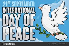 White Dove with Olive Branch Flying for International Peace Day, Vector Illustration Dove With Olive Branch, Dove Flying, International Day Of Peace, White Doves, Banner, Disney Characters, Illustration, Image, Art