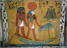 The Egyptian sun god Ra traveled across the sky during the day and through the underworld at night. This tomb painting of the 1200s B.C. shows Ra with a sun disk on his head.