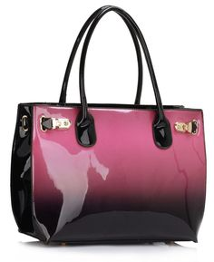 Alex -Purple Patent Two-Tone Tote