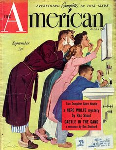 American Magazine- vintage 1950's. The average home's one bathroom was shared by everyone in the family. It was not always easy, but we learned to share.  This is exactly how our small family of 4 operated!