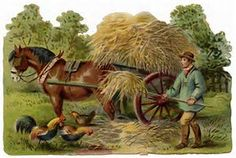 victorian clip art vintage farm clipart farmer stooking hay horse and wagon image old fashioned farm graphics Vintage Farm, Vintage Horse, Vintage Country, Arte Country, Silhouette Clip Art, Old Farm Equipment, Farm Art, Country Scenes, Landscape Illustration