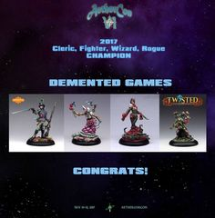 In a close battle decided by 3 votes Demented Games of Australia - https://www.dementedgames.com/ defeated Aenor Miniatures of France - https://www.aenorminiatures.com/en to claim the 2017 Cleric, Fighter, Wizard, Rogue Championship. Congrats folks!!