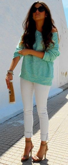 Love her outfit but no heels, its too casual for heels.
