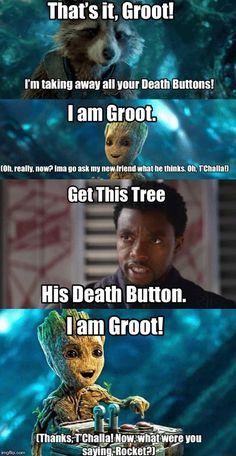 Groot's New Best Friend Funny Marvel Memes, Marvel Jokes, Avengers Memes, Marvel Actors, Marvel Dc Comics, Marvel Heroes, Marvel Avengers, Funny Memes, Pop Marvel