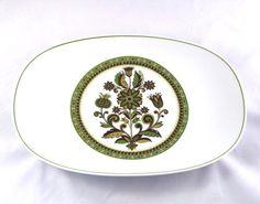 Vintage, 13 Inch Serving Platter, Meat Platter, Noritake, September Song, Green, Brown, Thistles, Flowers, 1970s