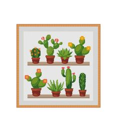 Cactus cross stitch Succulent cross stitch por StitcheryStitch