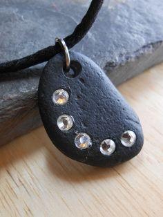 Beach Stone Jewelry - Path of Enlightenment  - Beach Rock and Swarovski Crystal Necklace.  via Etsy.