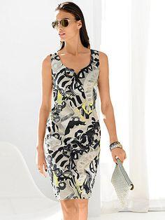 Dieses elegante Druckkleid von ALBA MODA ist Dank des abstrakten Prints allover durchaus auch leger zu tragen