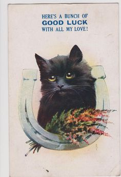 Antique vintage 1920s Art Deco lucky black cat postcard  by GalabeerandtheDog. Available on Etsy. £2.00.  https://www.etsy.com/uk/listing/189040329/antique-vintage-1920s-art-deco-art