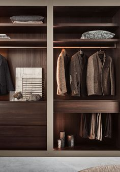 Modular walk-in closets can be fitted into small or large spaces. Walk In Closet Design, Wardrobe Design Bedroom, Master Bedroom Closet, Wardrobe Closet, Closet Designs, Closet Space, Cheap Modular Homes, Dressing Room Design, Built In Furniture