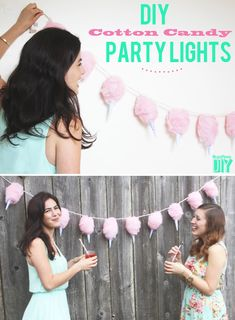 1. Cotton Candy Lights.  Spread out and pray paint cotton batting with light pink(the more uneven, the more authentic it looks).  Use spray glue to attach to twinkle lights(a big round globe is ideal--not the tiny ones).  Make paper cones out of scrapbook paper.