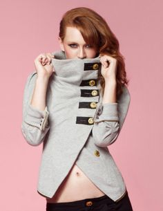 Tuck Madison Zip-Back Military Jacket - Black or Grey Heather.
