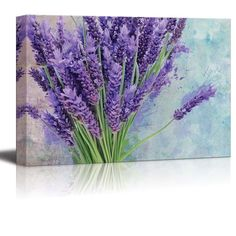 Bouquet of Purple Flowers Resting on a Watercolored Background-Canvas Art- 12x18