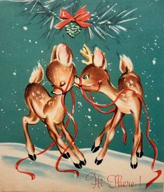 Two sweet affectionate deer adorn this vintage Christmas Card from the - Vintage Christmas Images, Old Fashioned Christmas, Christmas Deer, Christmas Past, Retro Christmas, Vintage Holiday, Christmas Pictures, Christmas Raindeer, Vintage Images