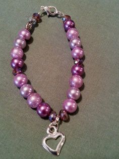 4 Shades of purple glass pearl bracelet