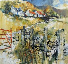 Gullane Art Gallery | Chris Forsey | Red gate and red roofs | acrylic/media on paper | 40x40cm