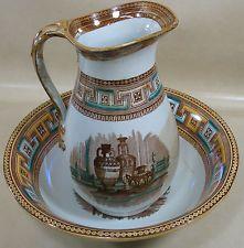 Gorgeous Antique Ceramic Brown Bowl and Pitcher FAIR Condition