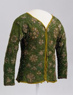 Jacket: ca. second half of the 1600's, British, hand-knitted silk yarn, hand-embroidered with metallic and silk thread, decorated with sequins.