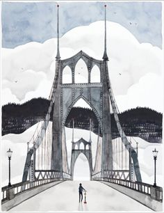 Beautiful illustration of a bridge! From a new book by Colin Meloy of the Decemberists