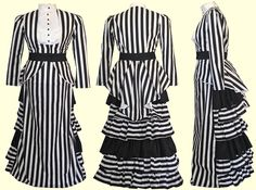 Our new custom Elizabeth outfit! Black and White Striped Cotton with a white cotton sateen blouse www.retroscopefashions.com/custom.html