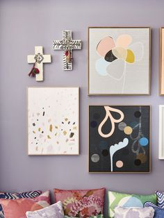 Kids space detail.  Crosses by Jai Vasicek / Ahoy Trader. Artwork from left by Sarah Kelk of Hello Polly, Rachel Castle.  Wall colour – Dulux Mandrake. Photo – Eve Wilson.