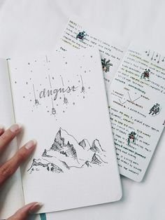 bullet journaling illustration inspiration for monthly log doodles Bullet Journal Inspo, Bullet Journal Agenda, August Bullet Journal Cover, Bullet Journal Themes, Bullet Journal Spread, Bullet Journals, Journal Covers, Journal Pages, Journal Ideas