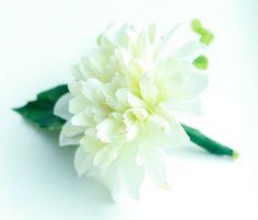 Classic White Dahlia Boutonniere - Silk Boutonniere