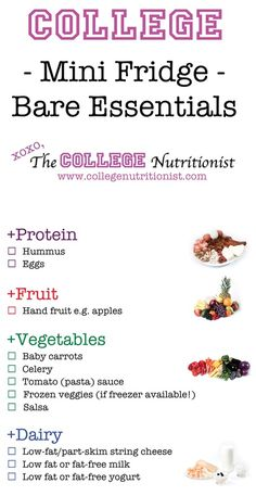 #Dorm essentials for your mini-fridge!   www.CollegeNutritionist.com