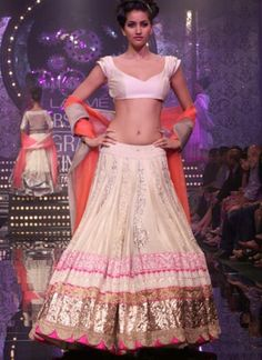 http://www.ManishMalhotra.in/ Mind-Blowing Silk & Georgette Lehenga with short Choli @ Lakme Bridal Show 2012