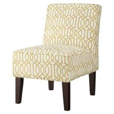 Threshold™ Slipper Chair - Yellow/White Trellis for bathroom? Armless Chair, Chair And Ottoman, Upholstered Chairs, Desk Chair, Living Room Accents, Living Room Chairs, Living Room Furniture, Living Rooms, Target Chair