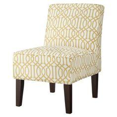 Threshold Slipper Chair - YellowWhite Trellis