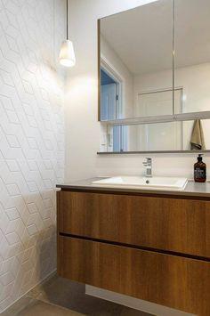 48 4003 Sleek Concrete™ - like the timber freestanding vanity and overhead mirror cabinet. Bathroom Floor Tiles, Laundry In Bathroom, Small Bathroom, Bathroom Ideas, Bathroom Vanities, Master Bathroom, Tile Floor, Recessed Shelves, Mid Century Modern Bathroom