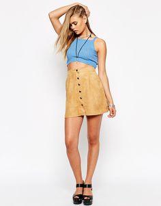 Motel Button Through Faux Suede A-Line Skirt