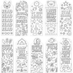 Bookmark Craft, Bookmarks Kids, Bookmarks To Color, Printable Bookmarks, Bookmark Ideas, Handmade Bookmarks, Printables, Adult Coloring Pages, Coloring Pages For Kids