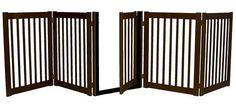 Five Panel Walk Thru Pet Gate Mahogany
