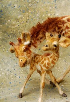 Needle Felted Giraffe by SarafinaFiber Art on etsy