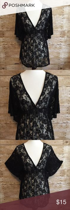 Rue 21 Black Lace Baby Doll Nighty Very sexy!!  Sheer black lace with winged sleeves. Deep V-Neck with elastic fitting around bodice.                                              Size: XL. Rue 21 Intimates & Sleepwear Pajamas